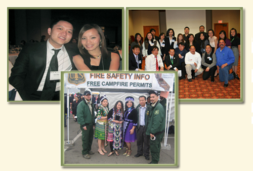 Three pictures of national Hmong events