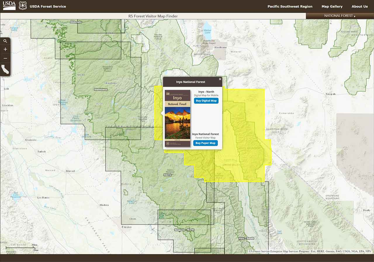 Pacific Southwest Region Online Web Maps
