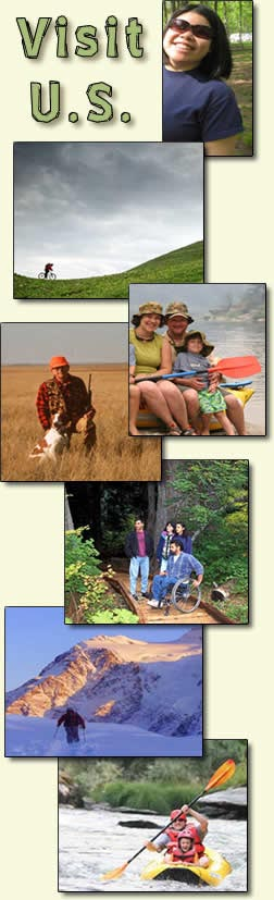 "[GRAPHIC: ""Visit U.S."" with several different recreation activity photos.]"
