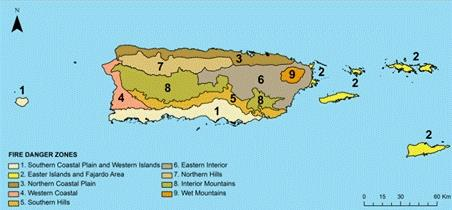Hover to pause, click to view — Scientist Develops Fire Danger Rating System and Fire Weather Zones for Puerto Rico and U.S. Virgin Islands