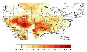 Hover to pause, click to view — Potential Effects of Regional Climate Change on Fire Weather in the U.S.
