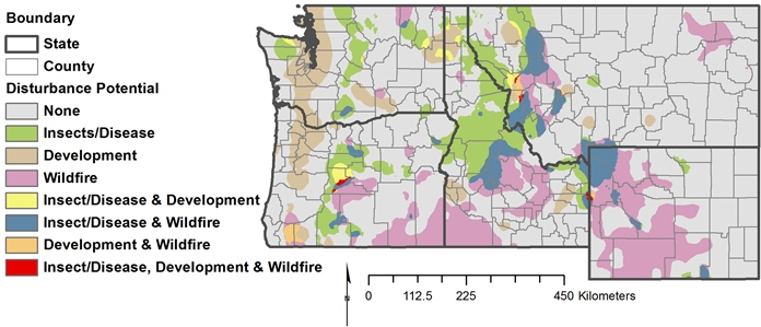 Hover to pause, click to view — Forest Mapping Study  Helps Identify Regions with Multiple Threat Potential, Including Wildfires