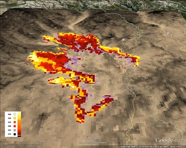 Hover to pause, click to view — Satellite-based Earth Observations Aid Fire Fighting and Fire Forecasting