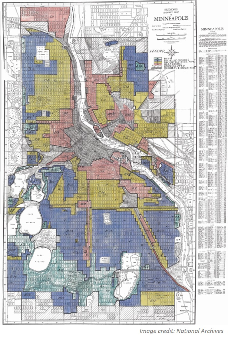 Historic map of Minneapolis, Minnesota with residential districts shaded by different colors.