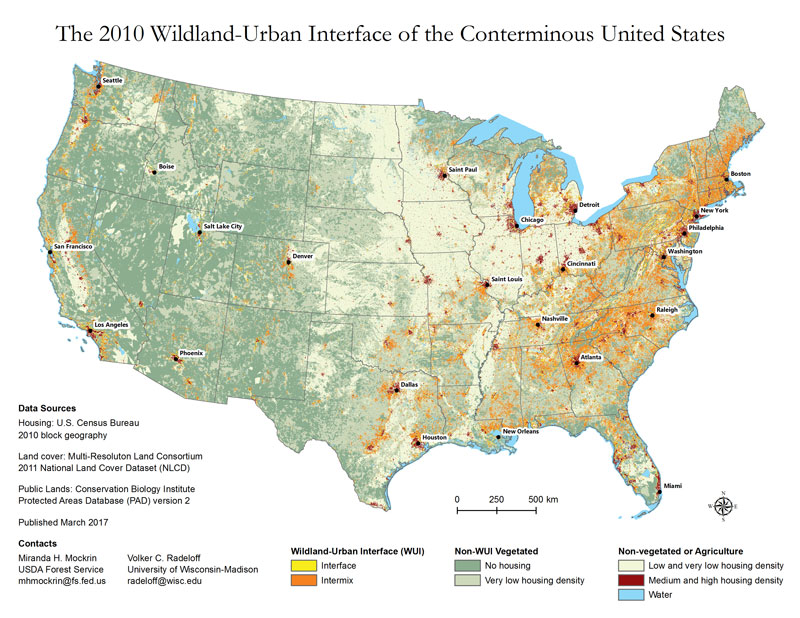 Map depicting the 2010 wildland-urban interface of the conterminous United States
