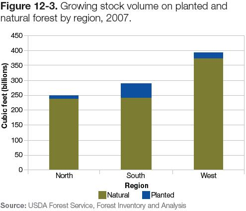 Figure 12-3: Chart of growing stock volume on planted & natural forest by region, 2007