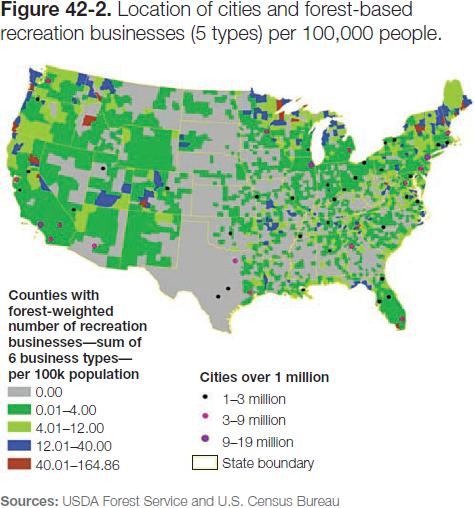 Figure 42-2: Map of location of cities and forest-based recreation businesses (5 types) per 100,000 people
