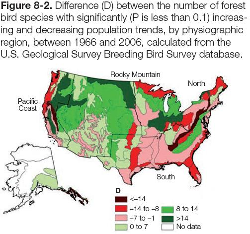 Figure 8-2: Map of difference between number of bird species with significantly increasing & decreasing population trends (1966-2006)