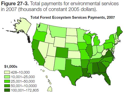 Figure 27-3: Map of total payments for environmental services in 2007