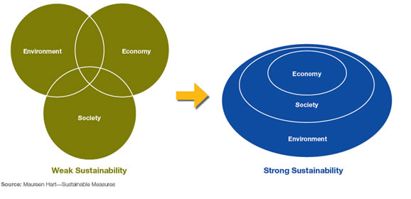 Graph depicting weak to strong sustainability