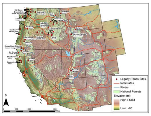 Map of the western United States displaying Legacy Roads sites on national forests.