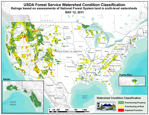 Map of the United States: USDA Forest Service Watershed Condition Classification. Rating based on assessment of National Forest System land in sixth level watersheds. May 12, 2011.