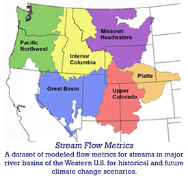 VIC stream flow metrics - a dataset of modeled flow metrics for streams in major river basins of the western US for historic and future climate change scenarios