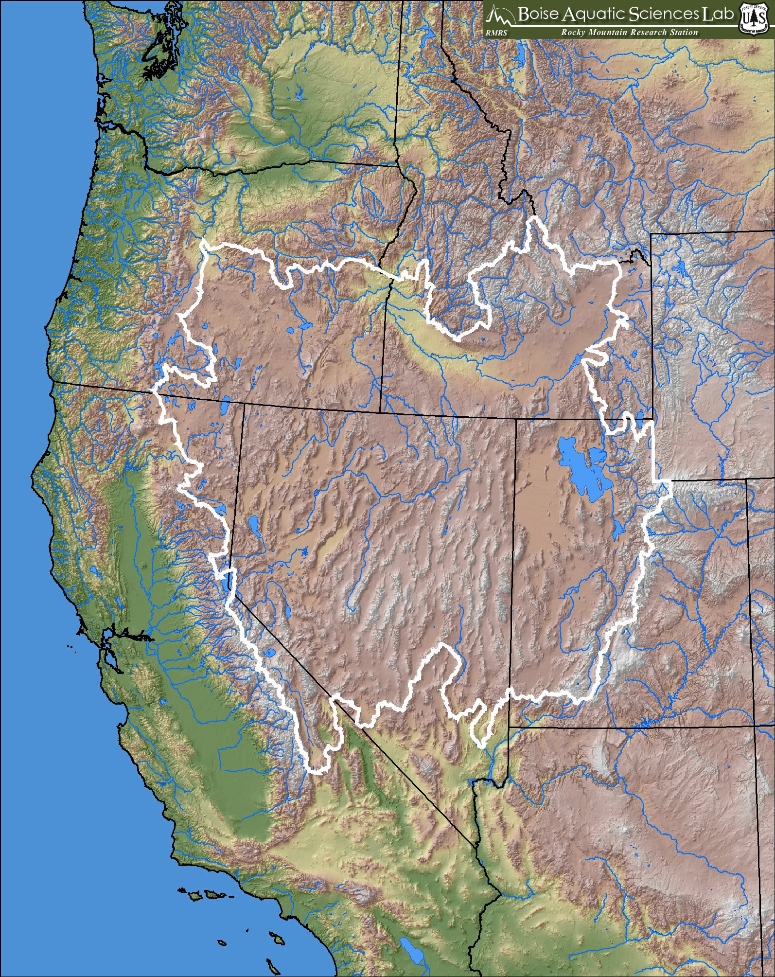 Great Basin Map Color Shaded Relief Map For The Great Basin Includes States Rivers And Lakes Derived From 120 M Dem Data