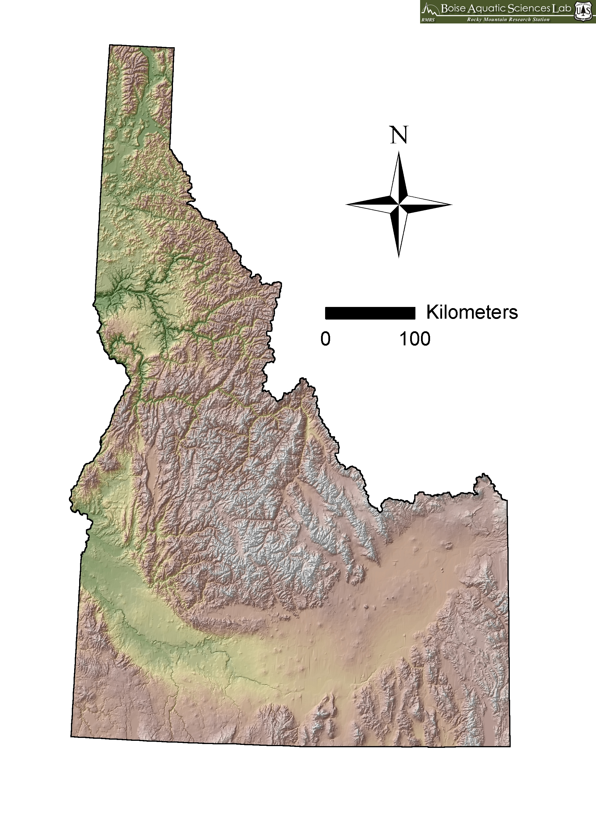 Topographic Map Idaho MAP - Physical map of idaho