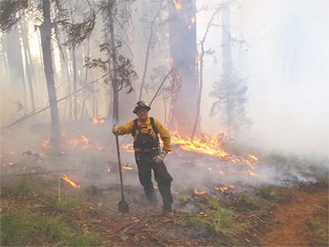 Frank Lake leaning on a shovel in front of a prescribed fire.