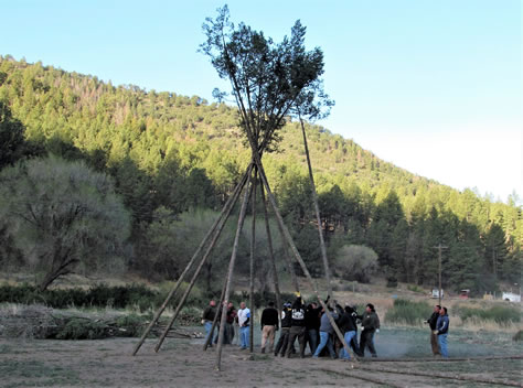 "Mescalero tribe members raising teepee poles to build the ""Big Teepee""."