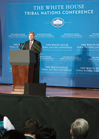 Secretary Vilsack announcing the Sacred Sites Report at the 2012 White House Tribal Nations Conference