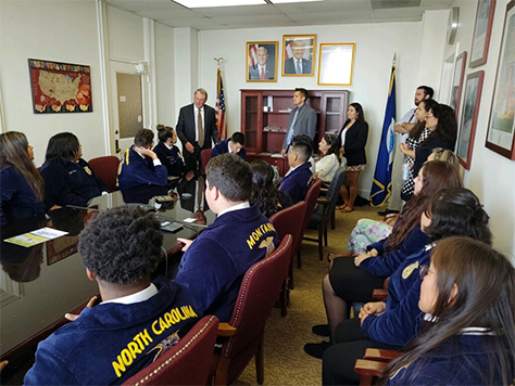 Under Secretary James W. Hubbard, USDA Natural Resources and Environment addressing  the FFA tribal youth group.