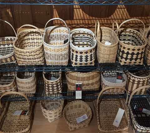 White oak baskets on display at Qualla Arts and Crafts.