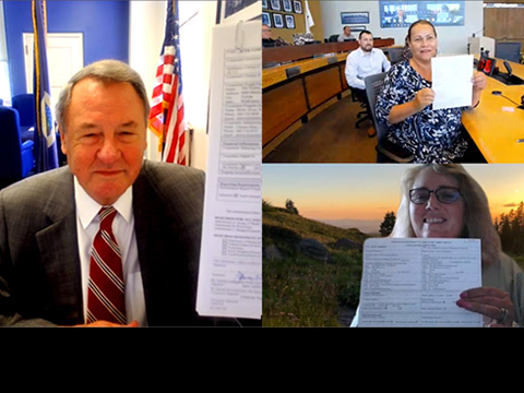 Screenshot of a virtual signing ceremoney picturing USDA Undersecretary Jim Hubbard, Tulalip Tribes' Chairwoman Gobin, and Mount Baker-Snoqualmie National Forest Supervisor Jody Weil