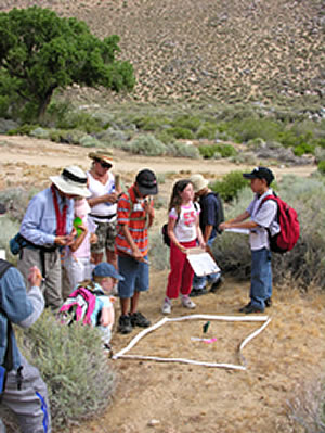 A group of adults and children looking at and discussing a plant monitoring plot.