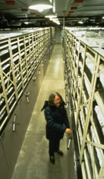 man standing between two long rows of seed racks in a seed bank.