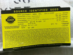 Grass seed label.