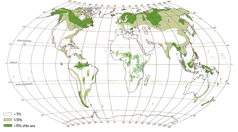 Peatland global distribution map.