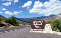 Coronado National Forest sign by roadside.