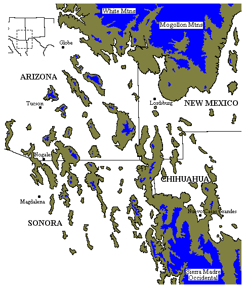 Map of the sky island areas.