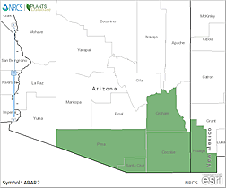 Map of Arizona. Counties are colored green where the species may be found.