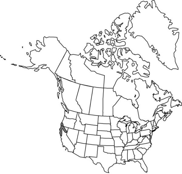 Map of the range of Cypripedium californicum in North America.