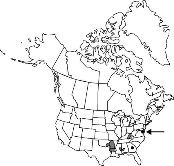 Map of the range of Cypripedium kentuckiense in North America.