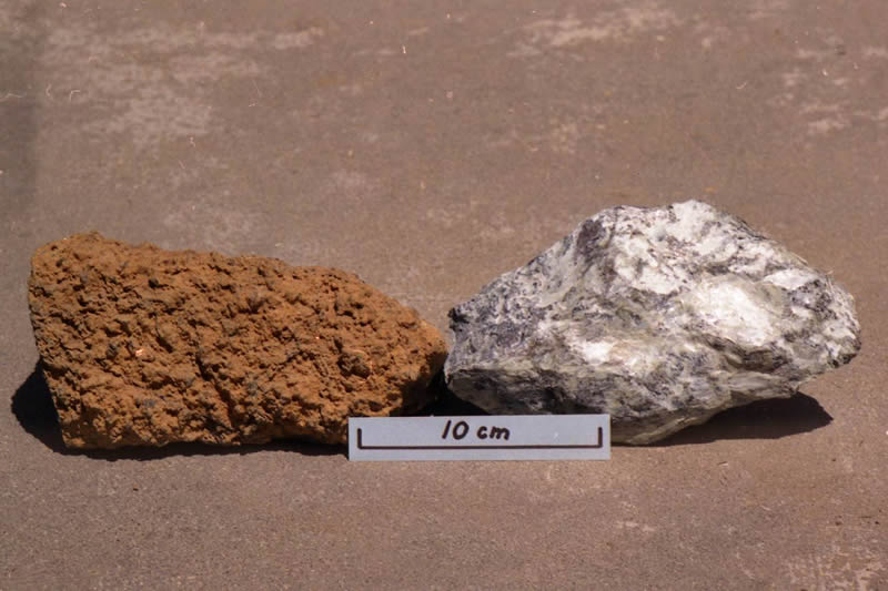 Peridotite on the left and serpentine on the right.