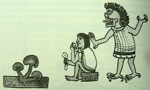 God of the Aztec Underworld visits a man likely eating mushrooms.