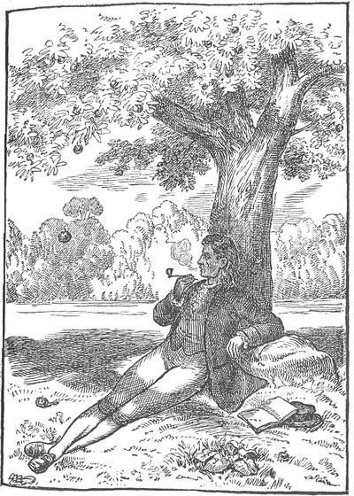 Drawing of Isaac Newton smoking in his garden beneath an apple tree.