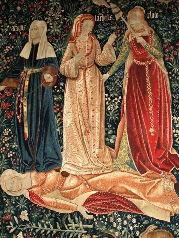 A portion of a medievalFlemish tapestry showing the three Fates.