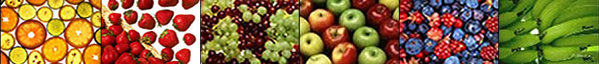 Image banner: citrus slices, strawberries, grapes, apples, mixed berries, and wheat.