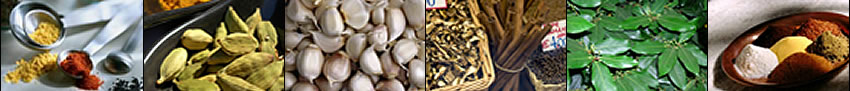 Image banner: measuring spoons and spices, cardamom, garlic cloves, spices in the market, California bay leaves, and powder spices on a dish.