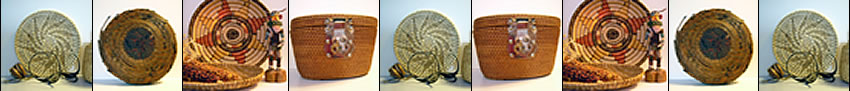 Baskets made of various plant fibers.