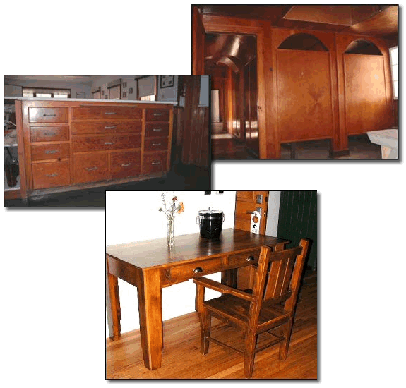 Pictures of varnished furniture, cabinetry, and wall paneling.