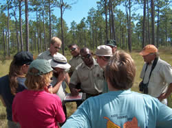 Forest Service personnel and partners discuss an upcoming prescribed burn on the Croatan National Forest.