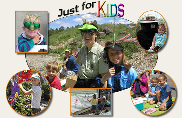 Collection of pictures showing kids with bug masks, sitting with Smokey Bear, and doing learning activities.
