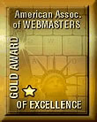 The American Association Of Webmasters Gold Award logo