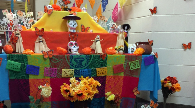 an ofrenda at the J.S. Morton High School Freshman Center in Cicero, IL that Mexican-American students created to celebrate life and culture.