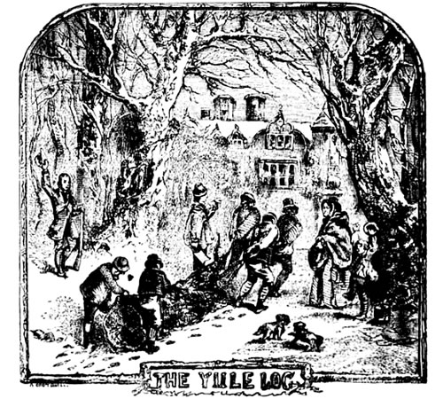 Lithograph of villagers dragging a large log for the Yule log celebration.