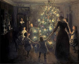 Painting: Happy Christmas, painted by Johansen Viggo.