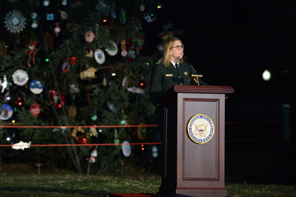 Forest Service Chief Vicki Christiansen gives a speech during the U.S. Capitol Christmas Tree Lighting Ceremony