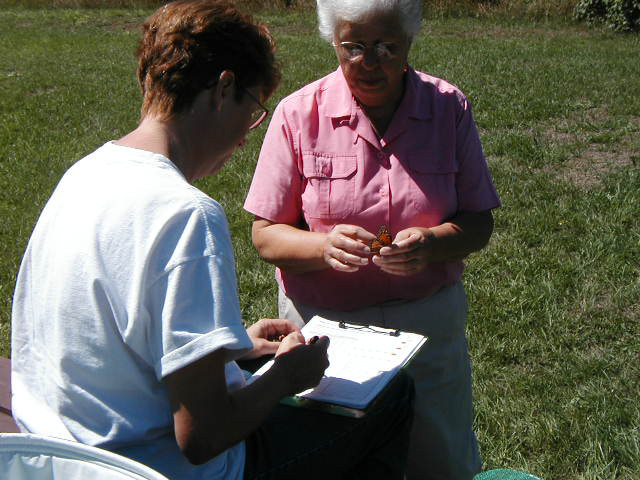 Picture of two women, volunteers, one holding a monarch and the other recording data on a data sheet.